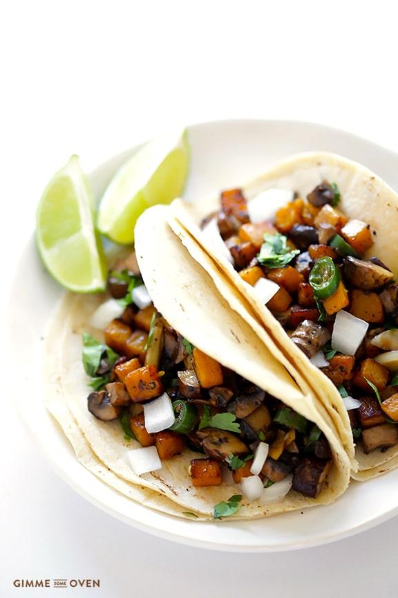 Butternut Squash and Mushroom Tacos