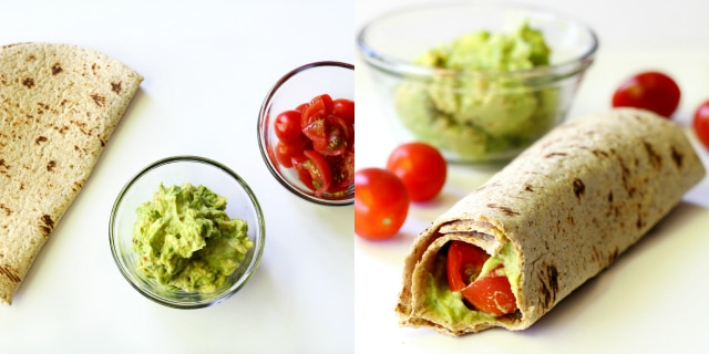 Cherry tomatoes + guacamole + Flatout = smart snacking indulgence!