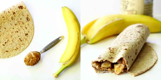 Almond butter + banana + Flatout = snack perfection!