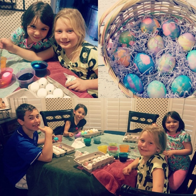 kids coloring Easter eggs