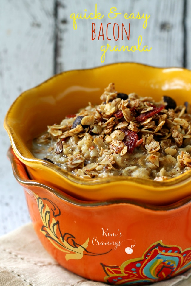 Quick and Easy Bacon Granola- the most over-the-top delicious combo of sweet and salty!