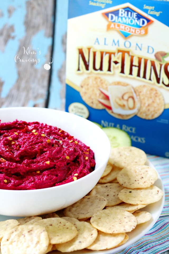 Beet hummus tastes spectacular! It radiates a lightly sweet earthy flavor and a gorgeous burst of color.