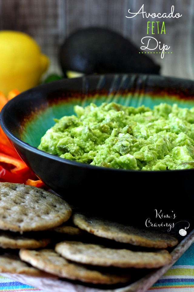 Tangy feta cheese, creamy avocado, roasted garlic and jalapeno, lemon and olive oil combine to create a simple crowd-pleasing dip.