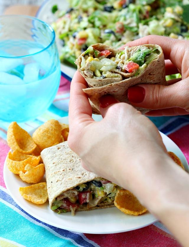 Chopped Southwestern Tuna Salad served wrap style- colorful, flavorful and slightly addicting!