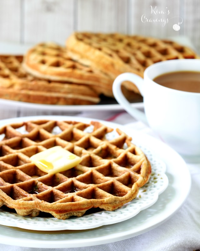 Hint of Honey Zucchini Bread Waffles- soft and fluffy with just enough honey sweetness to make for the perfect breakfast!