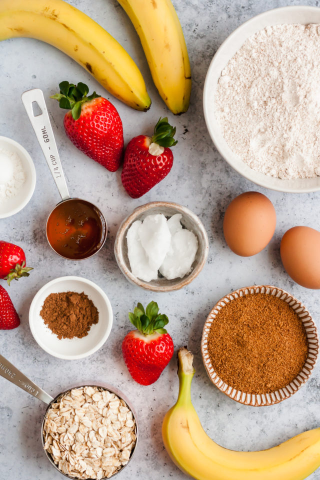 ingredients for strawberry banana muffins