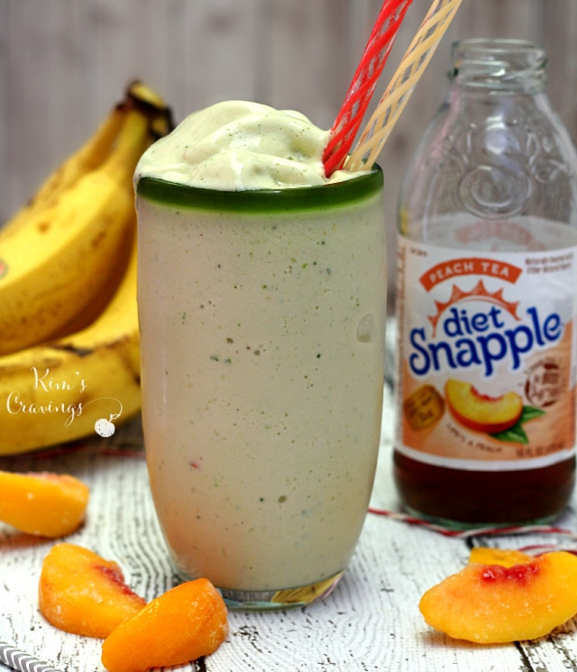 Cool, creamy and refreshing- this Peach Tea Protein Smoothie absolutely screams summer!