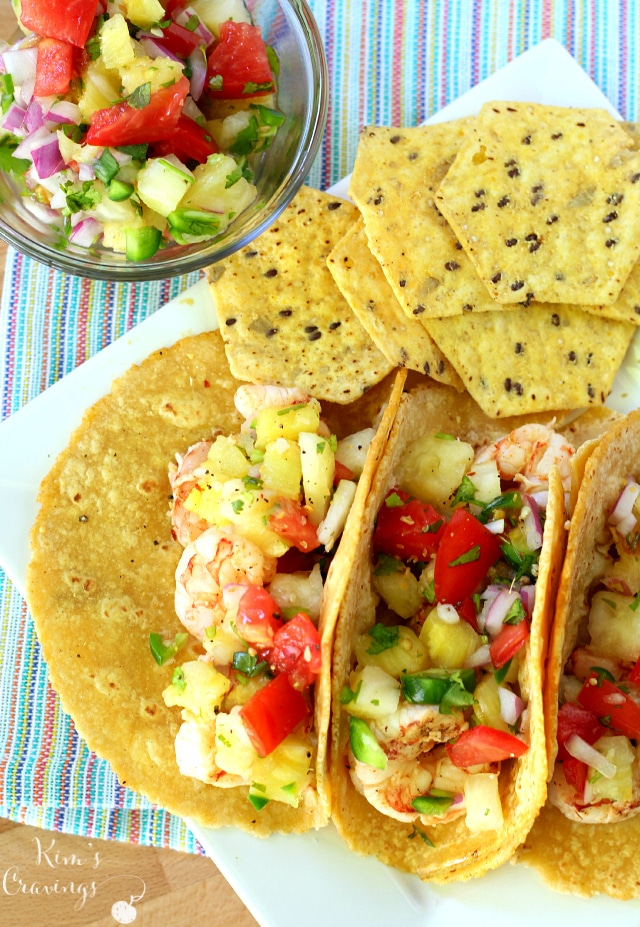 Super Simple Shrimp Tacos with Pineapple Salsa- absolutely the most perfect summer meal... light, refreshing and quick!
