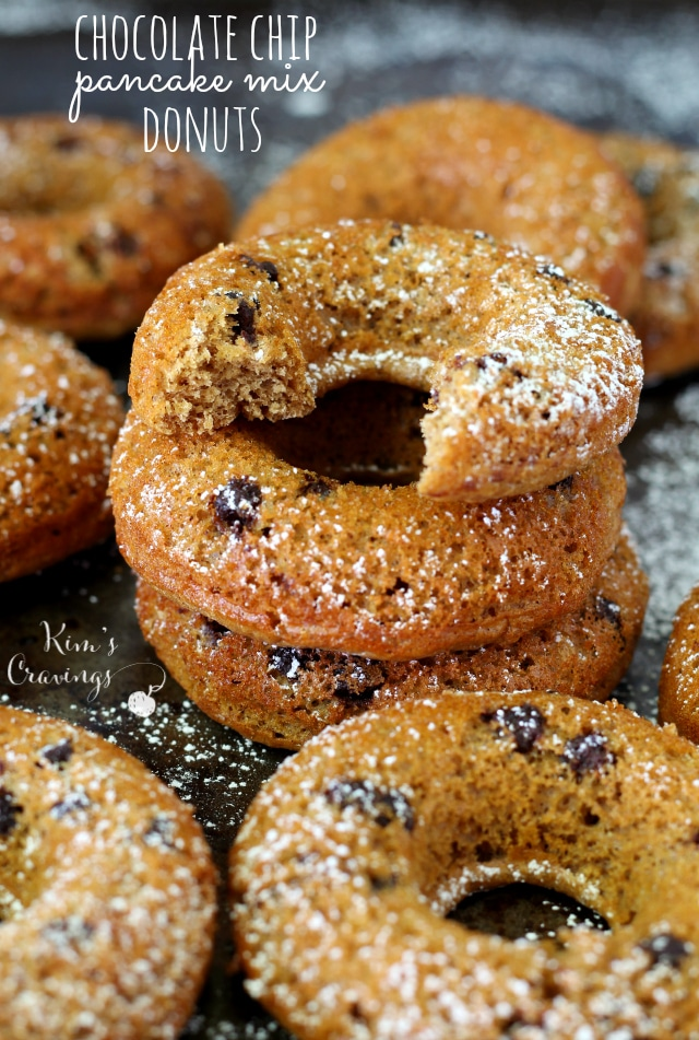 Chocolate Chip Pancake Mix Donuts- deliciously sweet with loads of protein and incredibly easy to whip up.