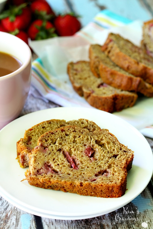 Whole Grain Strawberry Banana Bread- super moist and super scrumptious! You'll never miss the oil or refined sugar in this delicious quick bread!