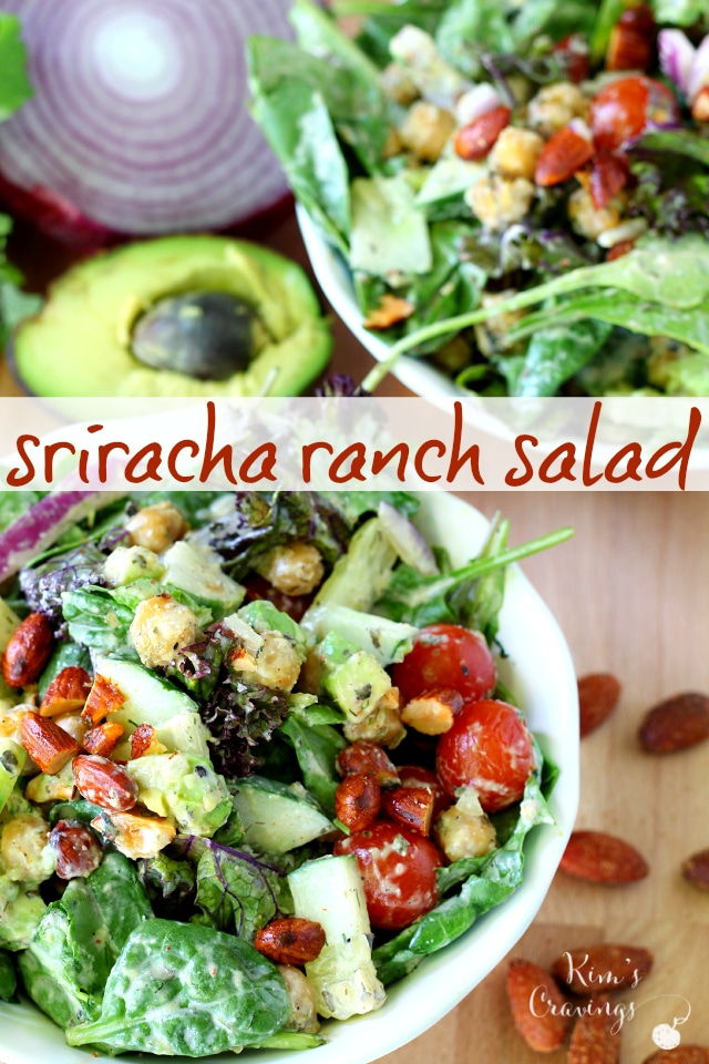 Sriracha Ranch Salad is a blend of some of my favorite ingredients with some major pizzazz from homemade ranch, kicked up a notch with sriracha sauce.