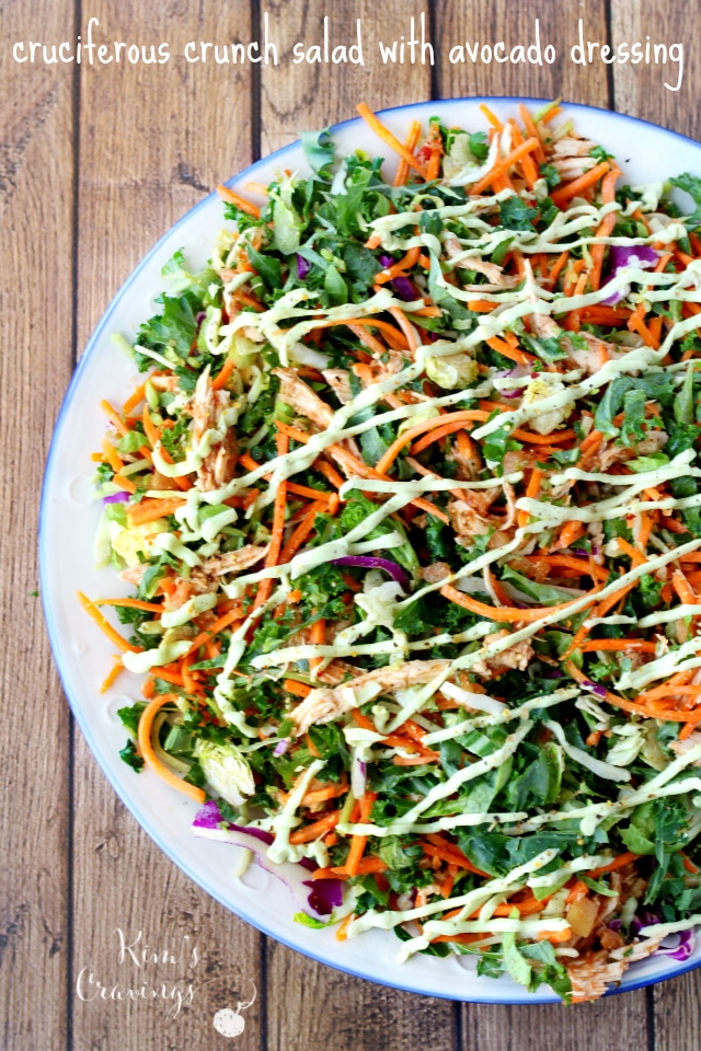 This cruciferous crunch salad with avocado dressing is a crunchy delectable salad that's filled with cancer-fighting veggies.