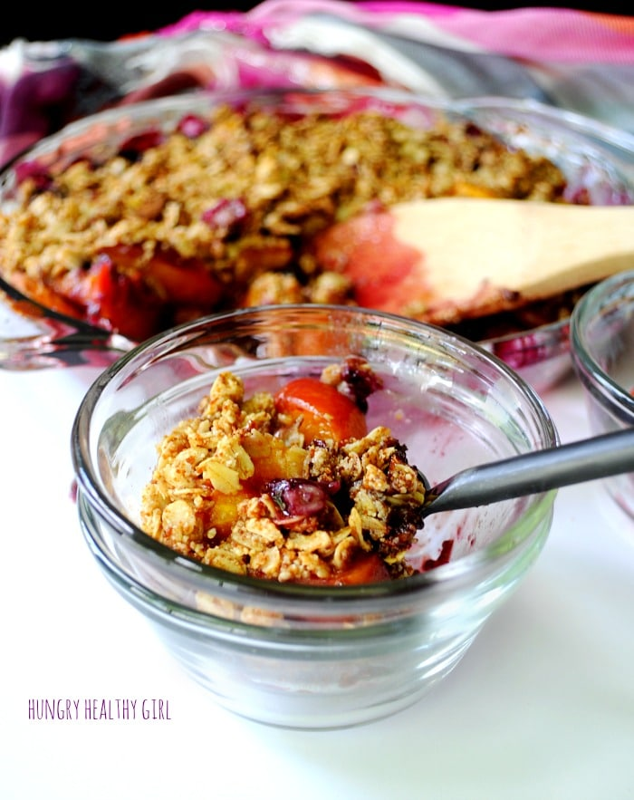 A healthy, simple, Easy Peach Blueberry Crisp with the flavors of summer. This crisp is so easy and can be thrown together in about 5 minutes. It's also vegan, gluten-free and made with all-natural yummy ingredients.