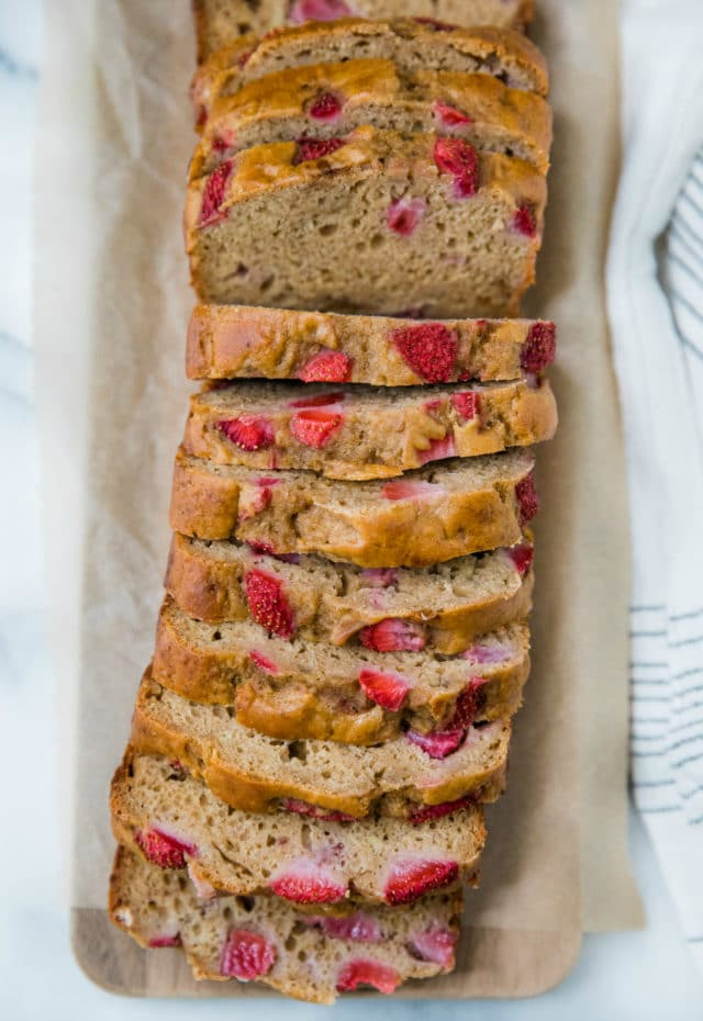 a sliced loaf of strawberry banana bread