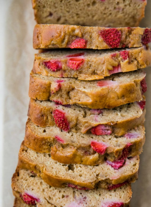 sliced loaf of strawberry bread