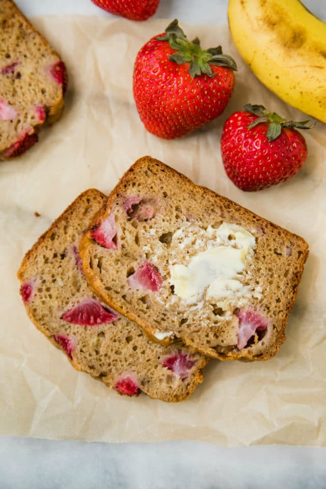 slices of Whole Grain Strawberry Banana Bread with butter