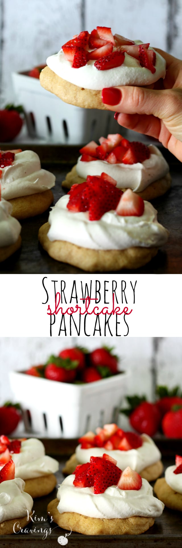 These Strawberry Shortcake Pancakes are easy as can be and so festive- perfect for celebrating Independence Day!