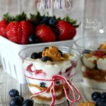 Red, White and Blueberry Parfaits - Simply layer your favorite yogurt, juicy strawberries, fresh blueberries and honey graham crumbs (granola or cereal) for an easy nutritious morning meal.