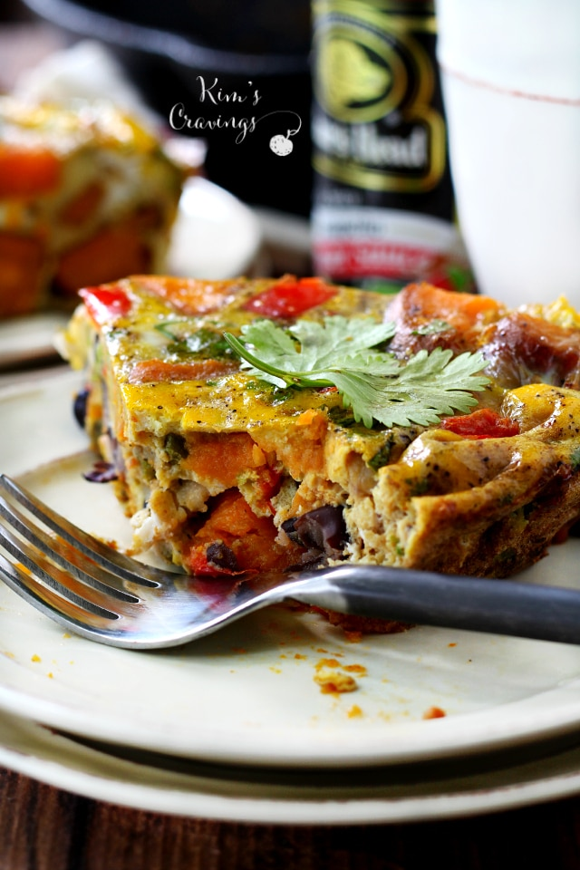 This hearty frittata is loaded with the goods, cram-packed with caramelized sweet potato, spicy pepper and plump black beans to make for the most amazingly delicious frittata ever.
