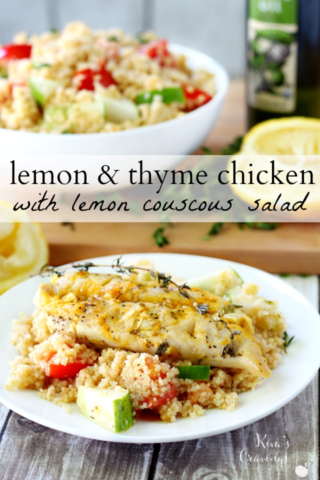 Baked chicken and couscous combine with ultra-healthy and flavorful ingredients; like lemon, thyme and garlic, in a light-yet-filling meal, that's bursting with summer flavors and textures.