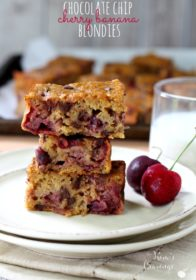 Chocolate Chip Cherry Banana Blondies- juicy cherries combine with chocolate chips and sweet ripe bananas for an incredibly scrumptious treat!