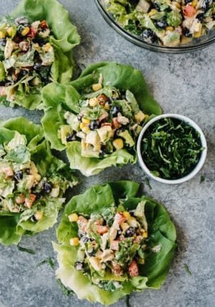 Mexican Chopped Tuna Salad in lettuce wraps