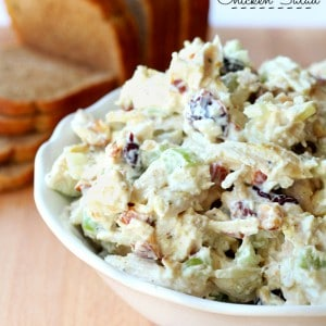 You will love this Skinny Greek Yogurt Chicken Salad! It's full of fabulous flavors, sure to please a crowd and couldn't be easier to create.