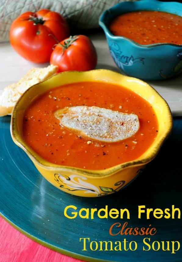 This tomato soup recipe is easy-to-follow and makes the perfect summertime meal, especially when fresh tomatoes from the garden or farmer's market are used!