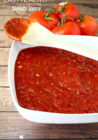 You're just a few simple ingredients from a large batch of clean-eating, nutritious and oh so easy healthy tomato sauce!