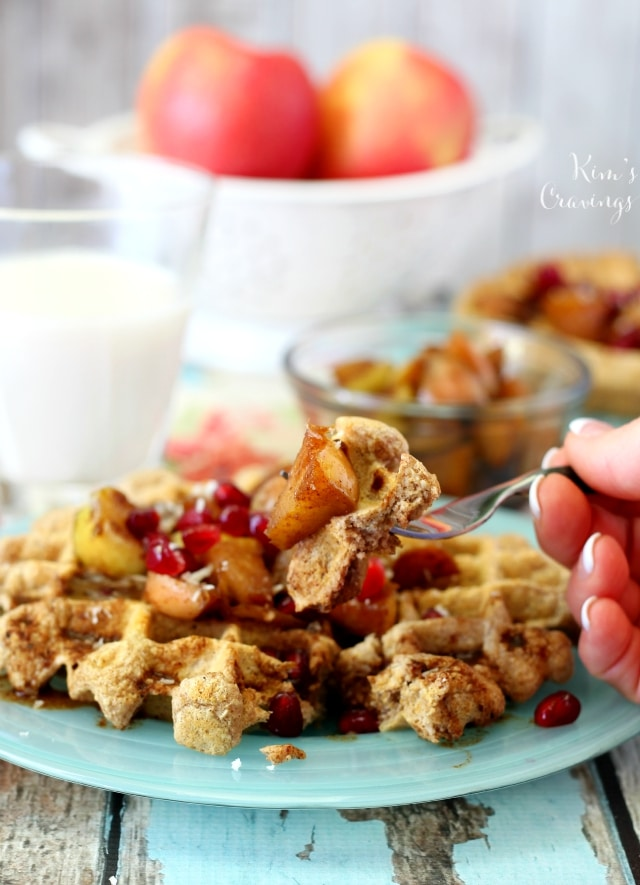 These hearty cinnamon protein waffles pack a major protein punch and thanks to the warm apple topping, this breakfast meal is also full of flavor!