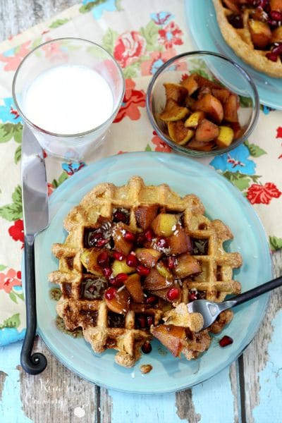 cinnamon protein waffles with warm apple topping