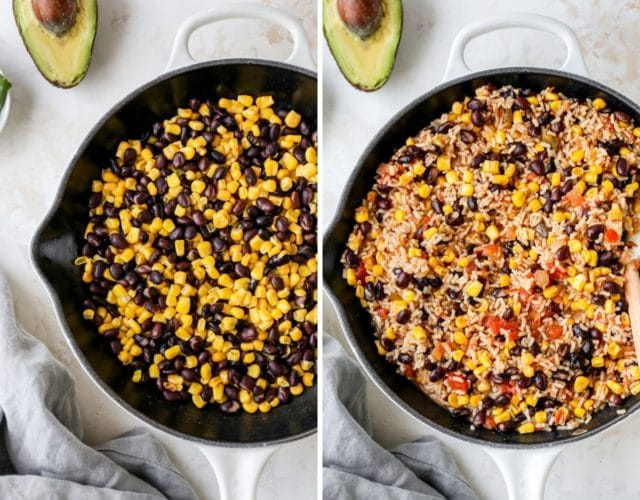 making Mexican brown rice in a large skillet
