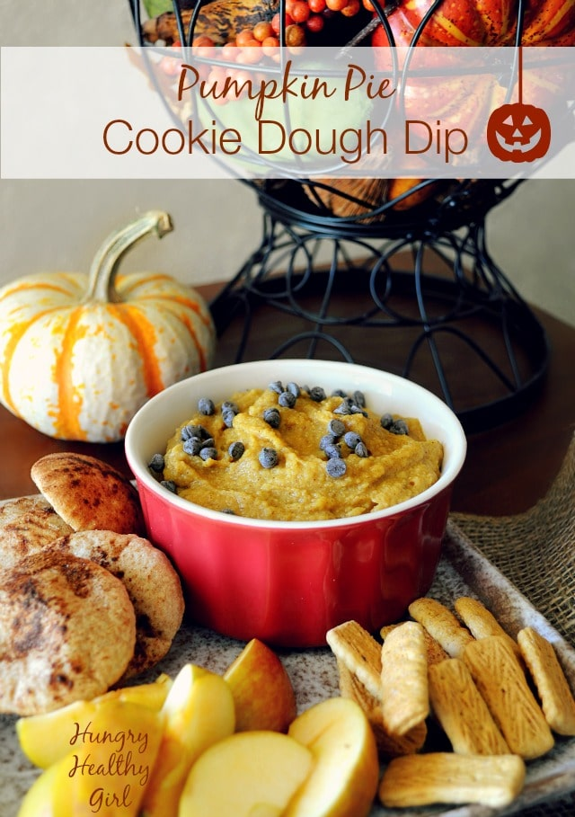 Pumpkin Pie in the form of chocolate chip cookie dough dip- what could be better? This sweet hummus-like dip takes less than 5 minutes to throw together and it's actually healthy.