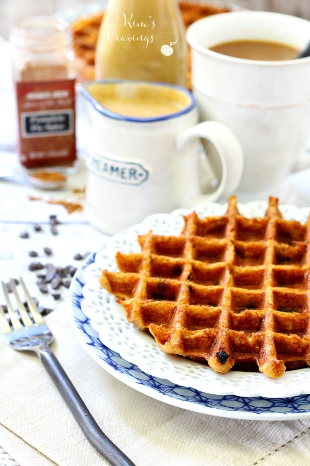 With a sweet pumpkin flavor and warm fall spices, these Chocolate Chip Pumpkin Waffles are an irresistibly perfect treat for this time of year! (gluten-free, dairy-free, low-calorie, high-protein)