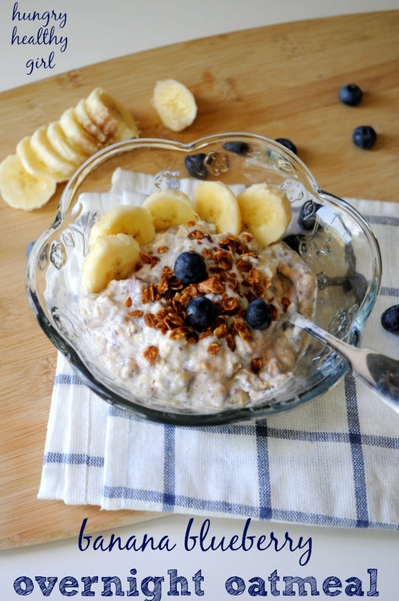 blueberry banana overnight oats- A whipped concoction of Greek yogurt and mashed banana; that turns dried oats into a fluffy bowl of oatmeal…. no cooking or heat required. The perfect breakfast treat for warm Summer mornings!