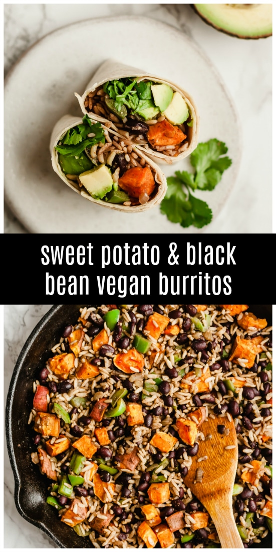 Healthy Sweet Potato and Black Bean Vegan Burritos stuffed with sweet potato, black beans, avocado and brown rice. They're gluten-free, vegan and make afabulous breakfast, lunch or dinner that's ready in under 30 minutes! #vegan #plantbased #burritos #healthyrecipe #healthyburritos
