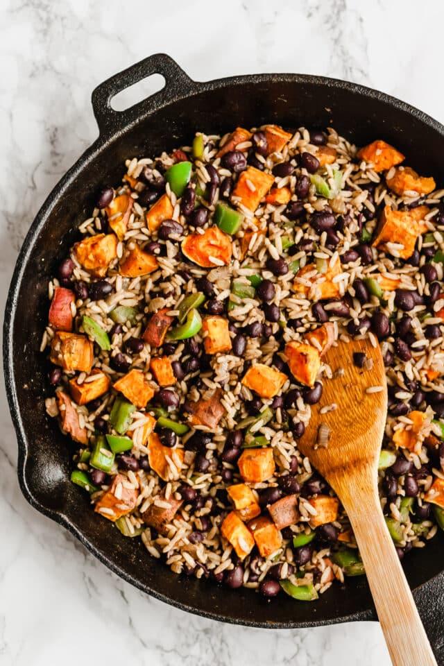 filling ingredients for sweet potato black bean burritos