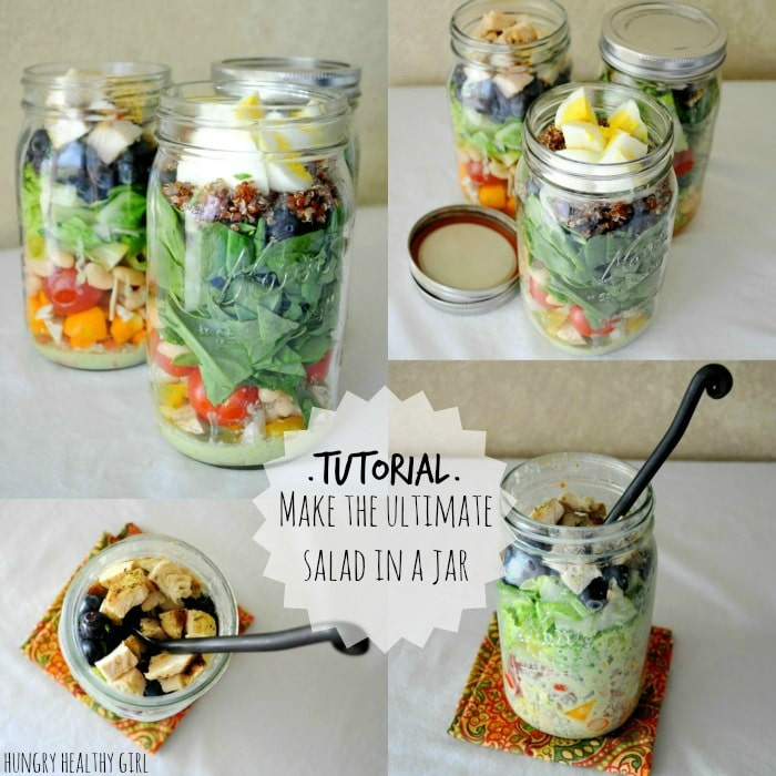 A tutorial for making the ultimate salad in a jar