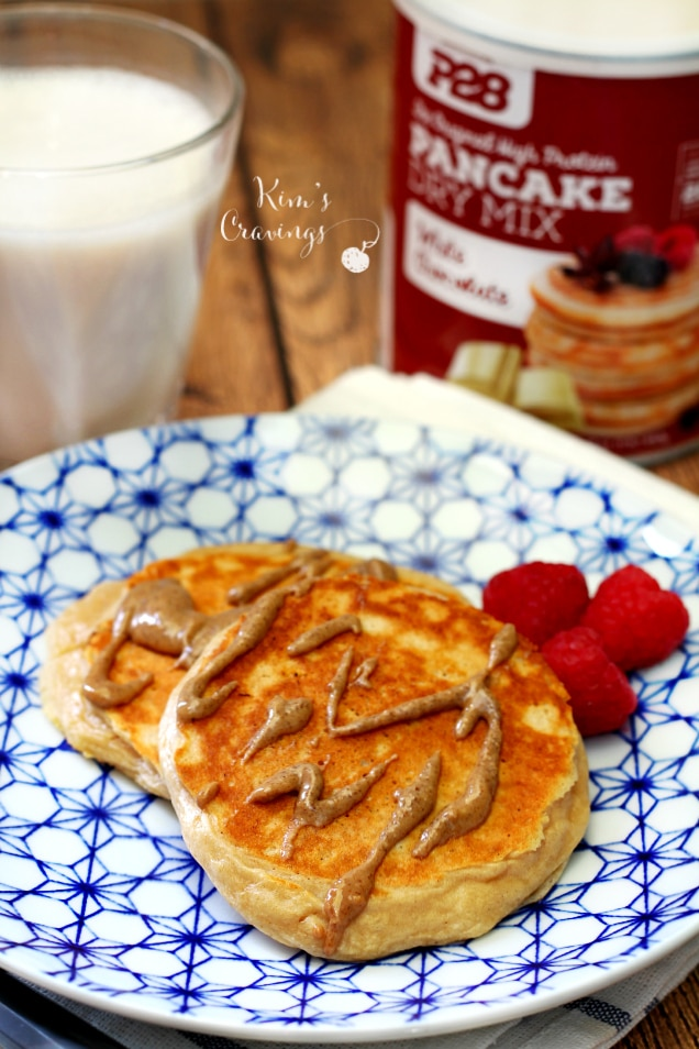 high protein white chocolate pancakes from P28