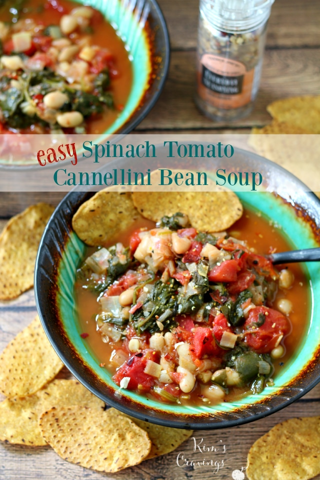 So simple and quick to throw together... you won't believe how tasty this Easy Spinach Tomato Cannellini Bean soup turns out! {vegan and gluten-free}