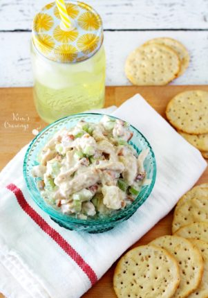 Only 3 steps to this delicious, tangy, lightly sweet Pineapple Almond Chicken Salad- not your standard chicken salad- it's WAY better!