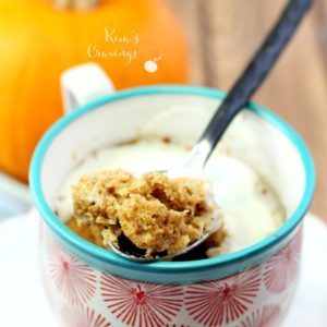 When you crave a yummy fall treat, this Pumpkin Spice Microwave Mug Cake is perfect for satisfying that sweet tooth! As an added plus, this pumpkin cake will take you about 5 minutes from mug to microwave to... in yo belly!