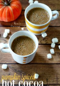 Warm up with a cozy mug of pumpkin spiced hot cocoa- a special surprise for your little ghosts and goblins after spending the evening trick-or-treating!
