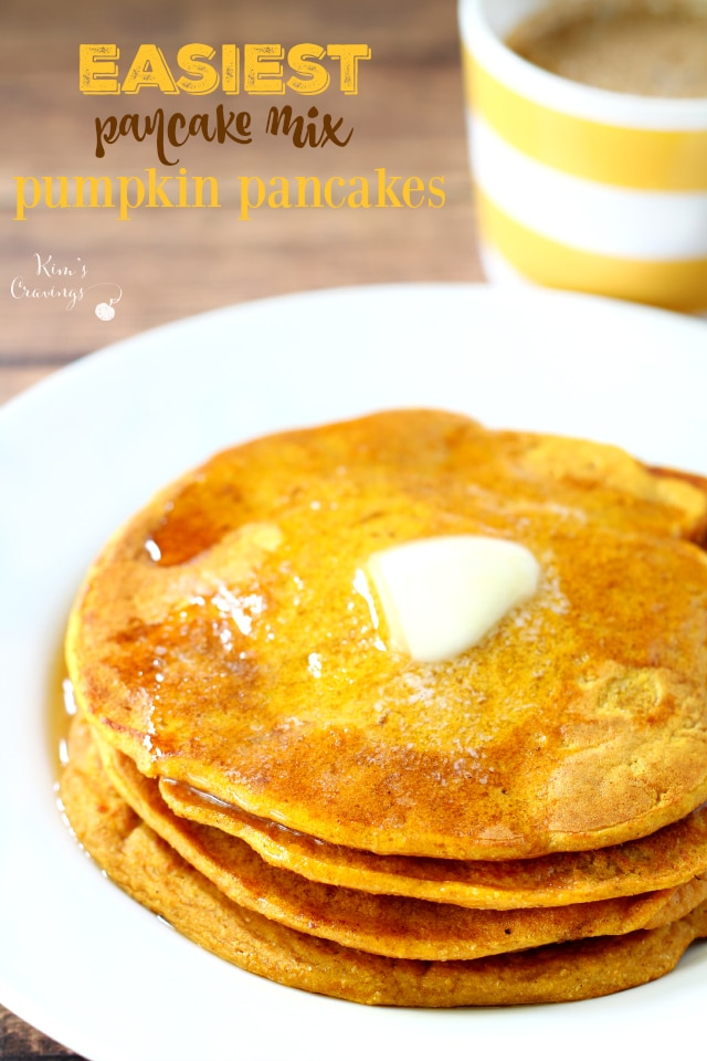 stack of pumpkin pancakes on a white plate topped with a pat of butter
