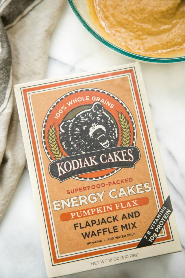 box of Kodiak Cakes Pumpkin Flax Flapjack and Waffle Mix