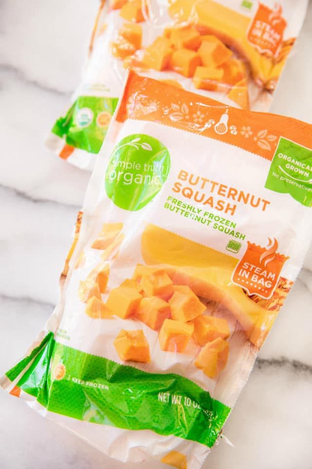 packages of frozen butternut squash