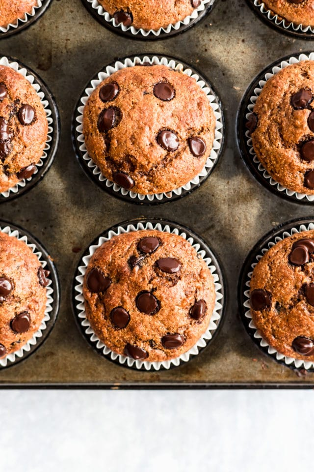 Chocolate Chip Pumpkin Muffins baked and in a muffin pan