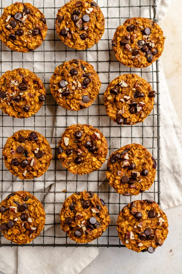 pumpkin oatmeal muffins on a wire cooling rack