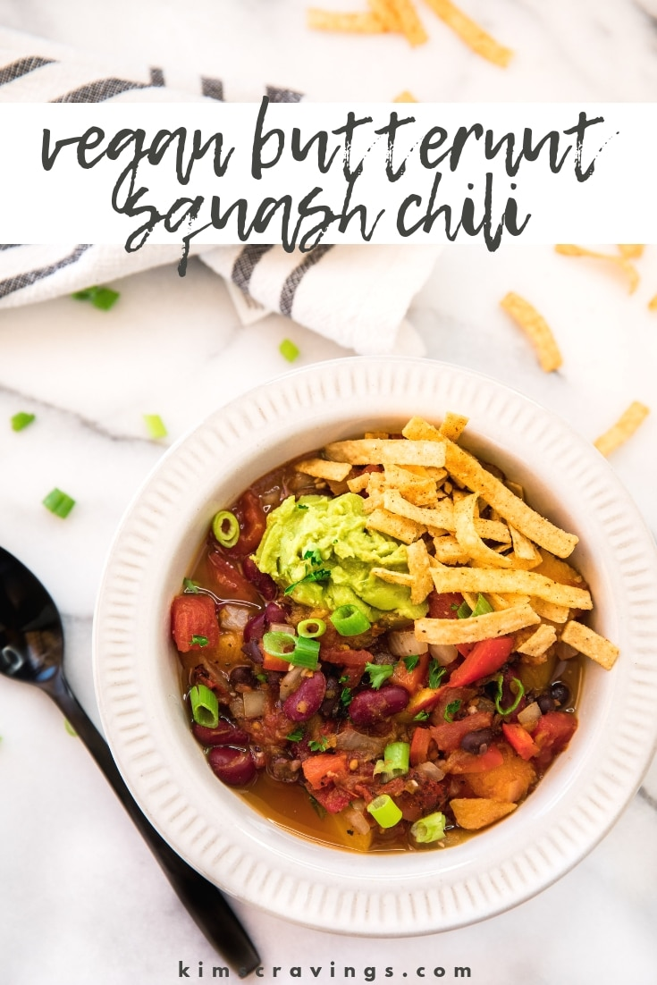 This Vegan Butternut Squash Chili is savory, fresh and slightly spicy. It takes a cozy cue from fall with a Southwestern twist you're sure to love. #vegan #chili #comfortfood