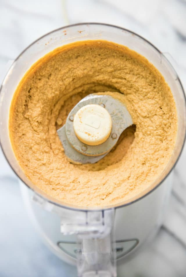 ingredients for pumpkin hummus blended in a food processor